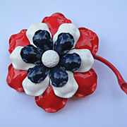 Vintage Red Blue White Enamel Flower Brooch Pin AMERICANA