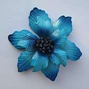 Vintage Brilliant Turquoise Blue Enamel Flower Pin Brooch with Rhinestones