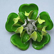 SOLD Vintage White Green Enameled Metal Flower Brooch Pin