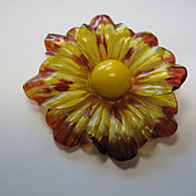 HUGE & Old! Vintage Eearly PLASTIC Lucite Flower Brooch