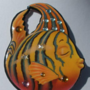 Vintage DFTD Designs From The Deep Copper Gold Striped Jeweled FISH PIN Signed