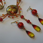 Venetian Murano Glass and Swarovski Crystal Necklace in Fire Opal,