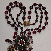 SOLD Artisan Flower Dark Red Czech Japanese Seed Beads Beaded Necklace Creation by Inna Victor