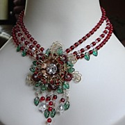 Artisan Flower Floral Cranberry Red Japanese Beads Emerald Beaded Collage Necklace by Inna Vic
