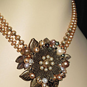 SOLD Natural Freshwater Pearl Multi Color Baroque Floral Flower Beaded Collage Necklace