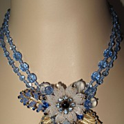 "SOLD Flower White Blue Czech Japanese Seed Beads Beaded Necklace ""Blue Frost"" by Inn"