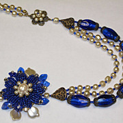 Artisan Beaded Flower Floral Faux Baroque Pearl Glass Royal Blue Foil Beads Collage Necklace ""