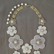 SOLD Artisan Flower Bib Glass Pearl Beads and Seed Bead Necklace Creation by Zhanna Kotova