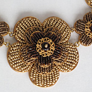 SALE PENDING Artisan Amber Gold Flower and Seed Bead Necklace Creation by Zhanna Kotova