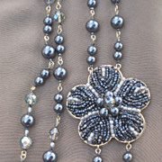 SALE Artisan Black Faux Pearl and Seed Bead Necklace Creation by Zhanna Kotova