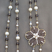 REDUCED Artisan Glass Pearl Beads and Seed Bead Necklace Creation by Zhanna Kotova