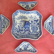 Rare Complete Minton Blue & White Pickle Set c.1825