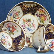 New Hall Trio Beautiful Hand Painted Flowers Pattern 2181 c.1820