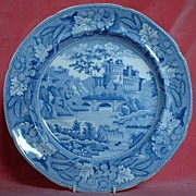 Minton Italian Ruins Blue and White Plate c.1825