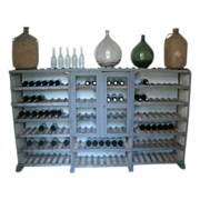 A Primitive painted wooden Wine Storage Rack from the French Massif