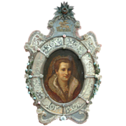 Rare early 19th century Venetian Portrait  Mirror-Glass Painting
