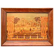 Unusual Marquetry Picture of 18th Century Rural Scene