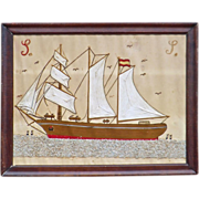 Sailor's Woolwork picture of a 3 masted Spanish Sailing Ship