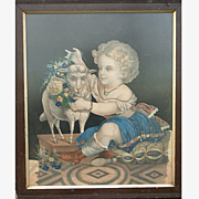 French 19th century Framed Print- Child and Sheep