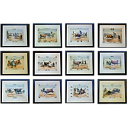 Magnificent set of 12 framed hand-colored 19th C. Prints of a Bullfight