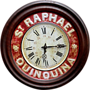 French Tin Caf Advertising Clock for St.Raphael Quinquina (aperitif)