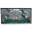 French Sailor's na�ve wood-carved painting of an 18th C. warship