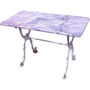 Handsome French marble-top iron Garden Table