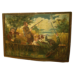 Rare pair of 19th C. Showfront Canvases from France with Hunting Scenes.