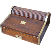 Very Desirable 19th Century Campaign Writing Box in Camphorwood