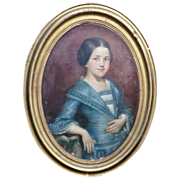 Attractive late 19th C. Oil Painting of young Girl