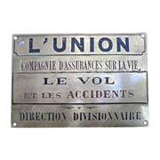 Fine Brass plaque for an Insurance company -French circa 1900