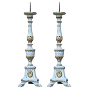 Fine pair of 19thC carved & gilded  Church Candlesticks from Florence Italy