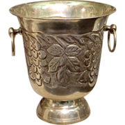 Small silver Champagne Bucket with grapes in relief