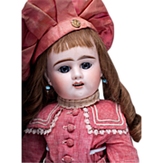"21"" (54 cm.) Antique French Bisque Bebe Doll by Denamur"