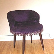 Retro Plush Purple Slipper Chair with Pom Pom Trim