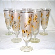 6 Retro Frosted Pilsner Beer Glasses Gold Pine Cones