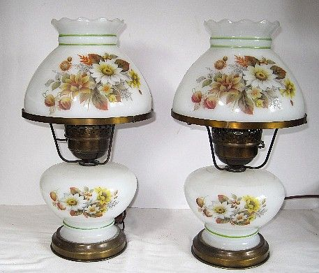 Pair of Electric Hurricane Lamps with Flowers