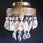 Vintage Crystal Ceiling Fixture with Prisms