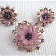 Vintage Soft Plastic Earrings & Brooch Purple Rhinestones Demi Parure