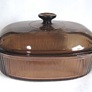 Visions Ware Amber 4 Qt Covered Oval Casserole