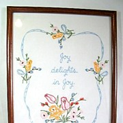 Framed Embroidered Picture Joy Delights in Joy Shakespeare