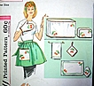 Vintage Apron Kitchen Set Sewing Pattern with Iron-On Cherries Transfer Uncut