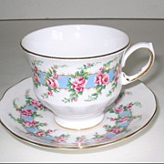 Queen Anne Bone China Cup & Saucer Pink Roses Blue Border