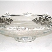 "SALE PENDING Indiana Glass ""Village Guild"" Bowl # 1016 Silver Overlay Orchid"