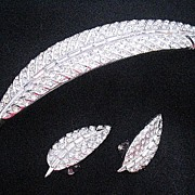 Vintage Avon of Belleville Rhinestone Leaf Brooch & Earrings Mazer Boucher