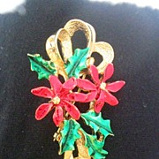 Vintage Gerry's Christmas Poinsettia Holly Bow Brooch