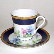 Hand Painted Cup & Saucer Pansies Cobalt & Gold Trim