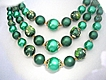 Vintage Green Faux Pearl Triple Strand Necklace