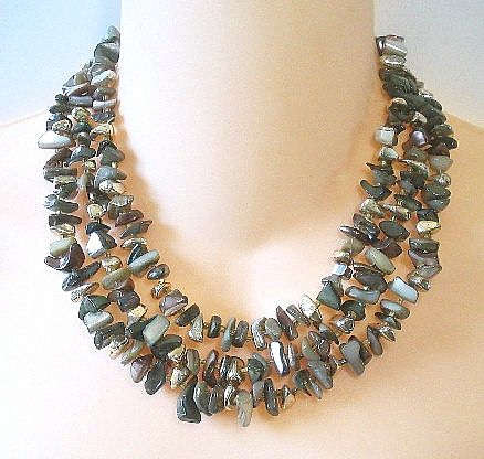 Vintage Beaded Abalone Chip 3 Strand Necklace