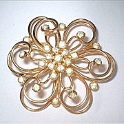 Vintage Sterling Silver Rhinestone Flower Brooch Signed Jeray